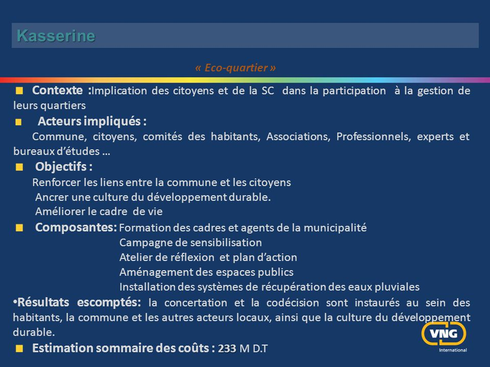 Kasserine « Eco-quartier » Contexte :Implication des citoyens et de la SC dans la participation à la gestion de leurs quartiers.