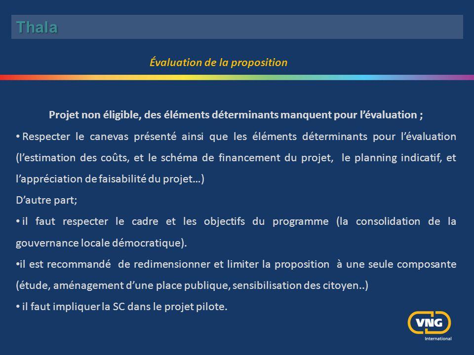 Évaluation de la proposition