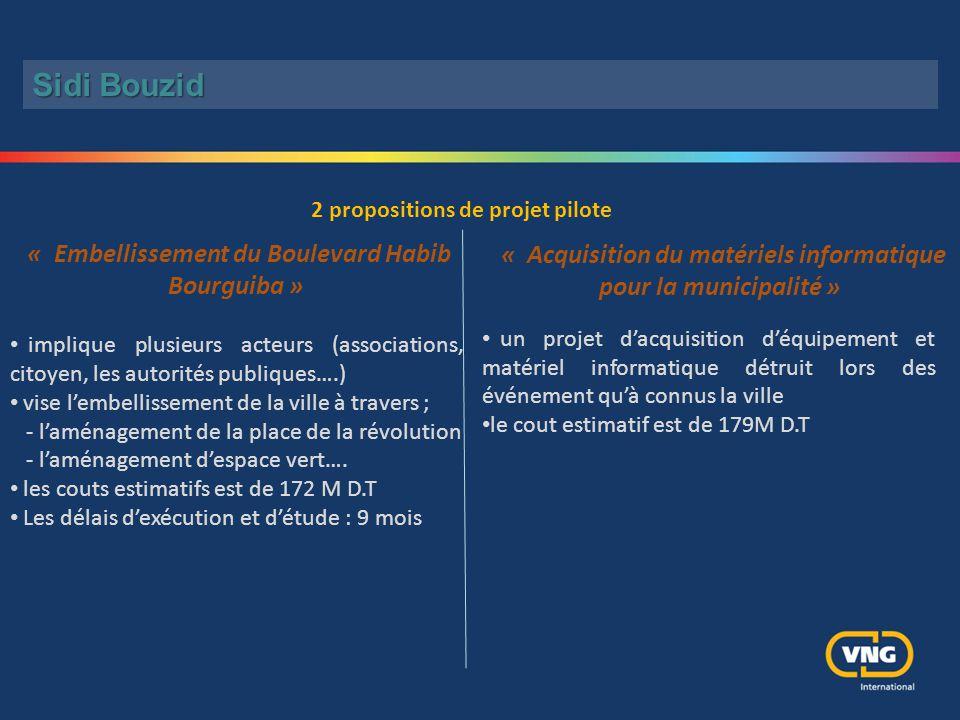 Sidi Bouzid 2 propositions de projet pilote. « Embellissement du Boulevard Habib Bourguiba »