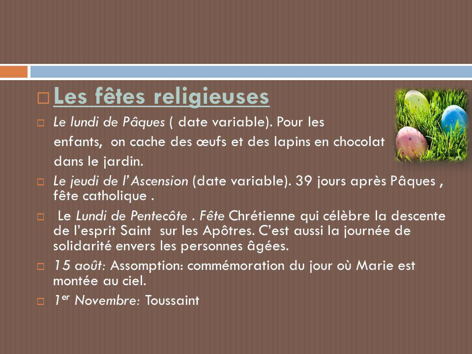 Les fêtes religieuses Le lundi de Pâques ( date variable). Pour les
