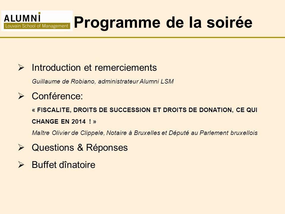 Programme de la soirée Introduction et remerciements Conférence: