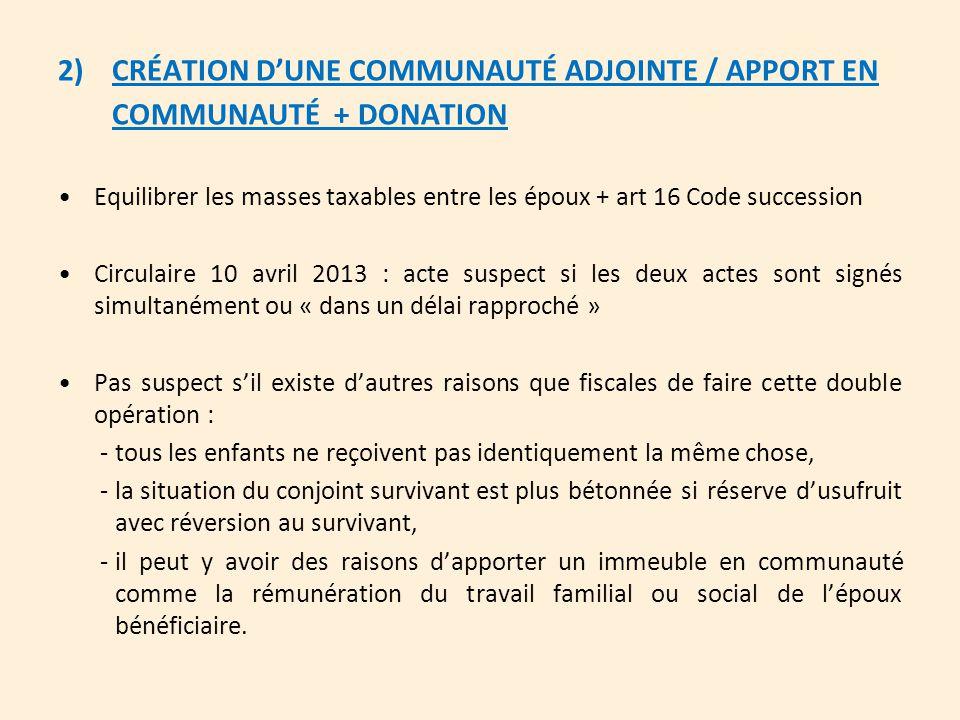 CRÉATION D'UNE COMMUNAUTÉ ADJOINTE / APPORT EN COMMUNAUTÉ + DONATION