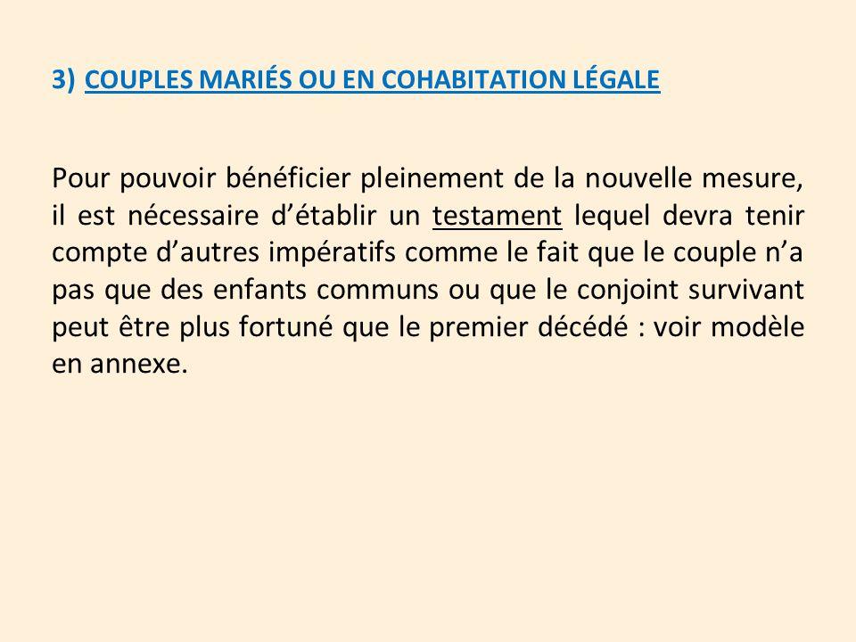 3) COUPLES MARIÉS OU EN COHABITATION LÉGALE