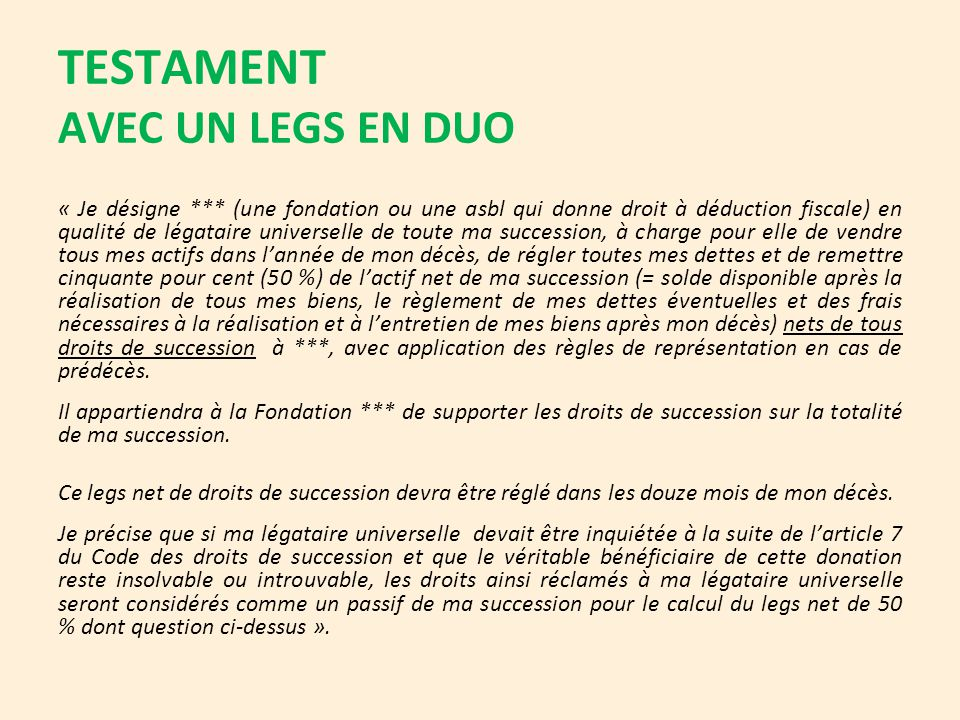TESTAMENT AVEC UN LEGS EN DUO