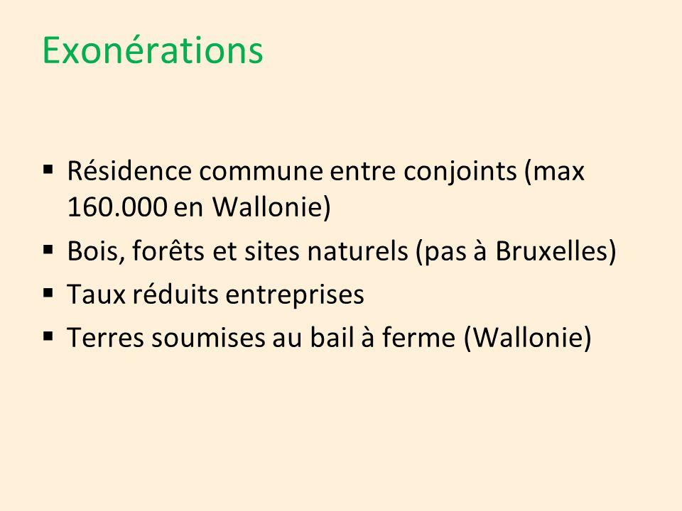 Exonérations Résidence commune entre conjoints (max 160.000 en Wallonie) Bois, forêts et sites naturels (pas à Bruxelles)