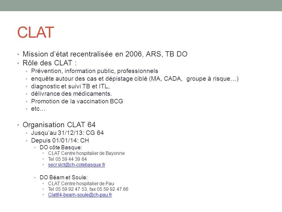 CLAT Mission d'état recentralisée en 2006, ARS, TB DO Rôle des CLAT :
