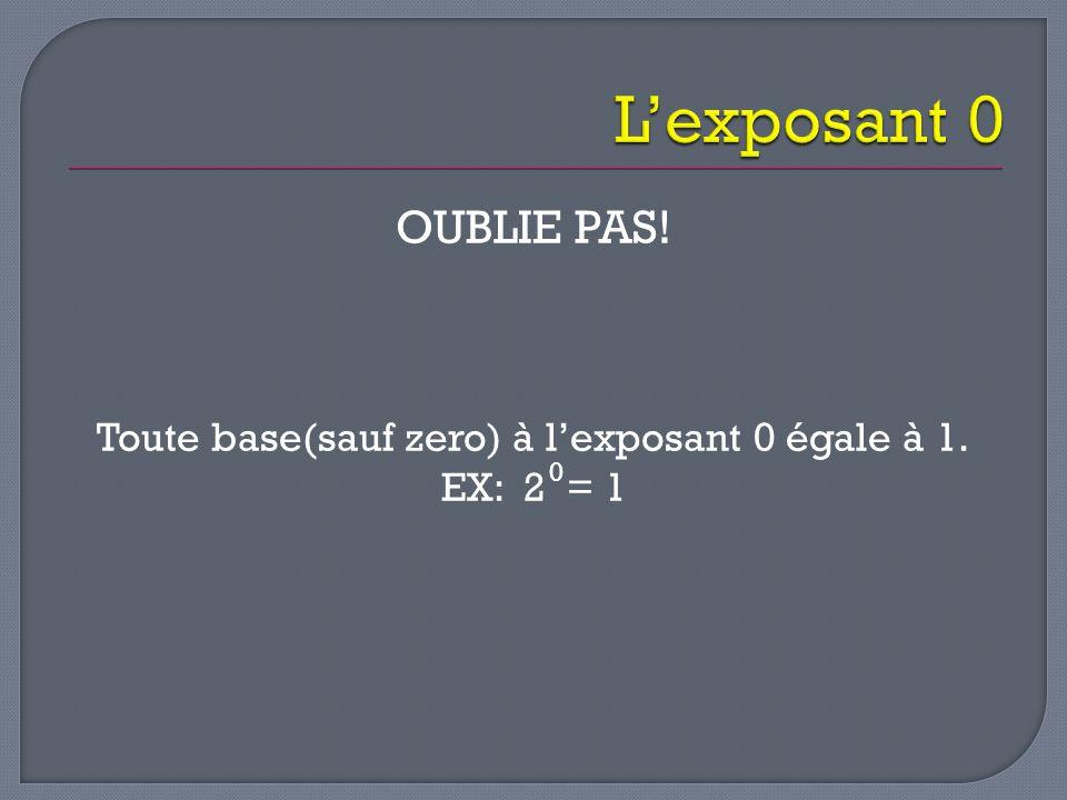 Toute base(sauf zero) à l'exposant 0 égale à 1.