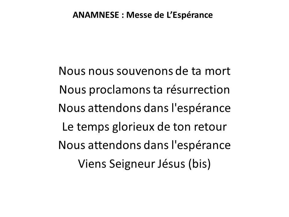ANAMNESE : Messe de L'Espérance