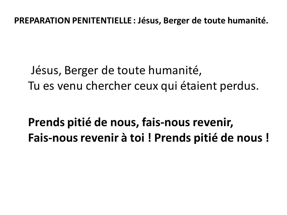 PREPARATION PENITENTIELLE : Jésus, Berger de toute humanité.