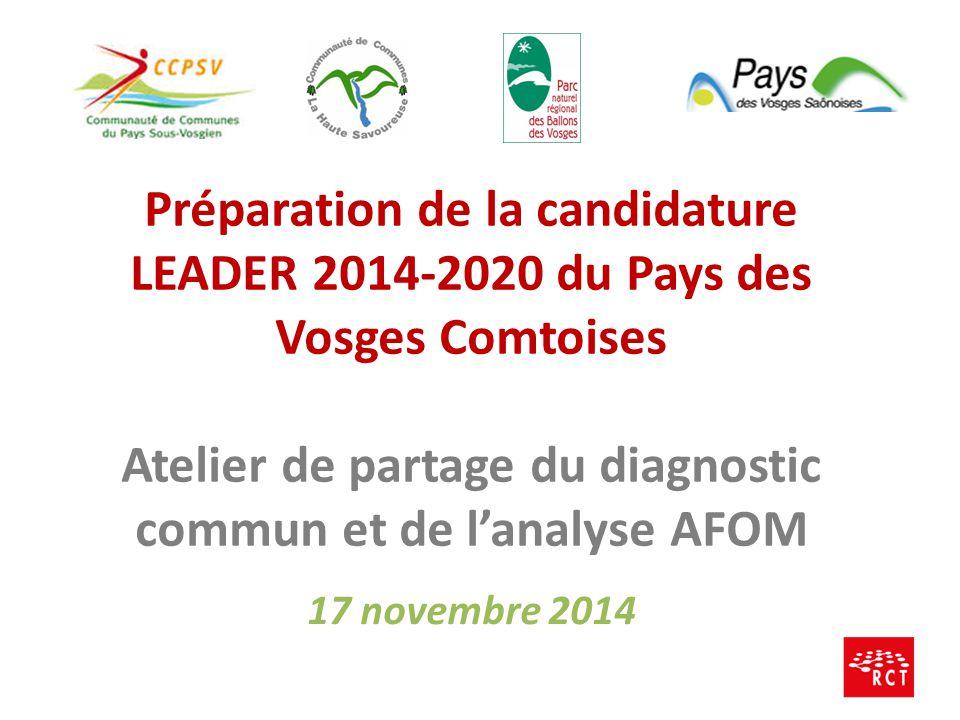 Préparation de la candidature LEADER 2014-2020 du Pays des Vosges Comtoises Atelier de partage du diagnostic commun et de l'analyse AFOM