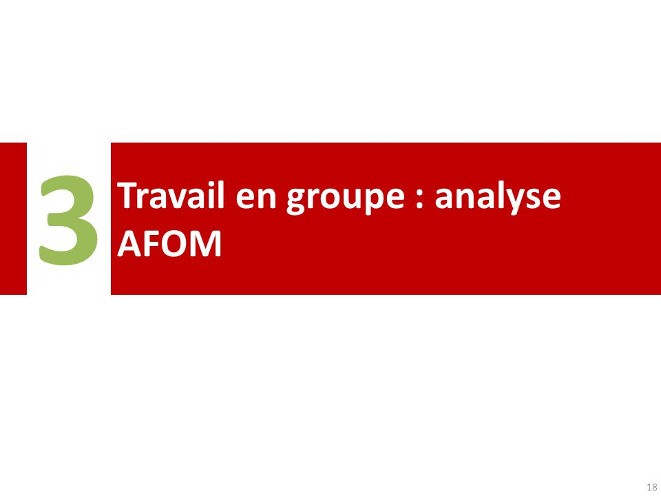 Travail en groupe : analyse AFOM