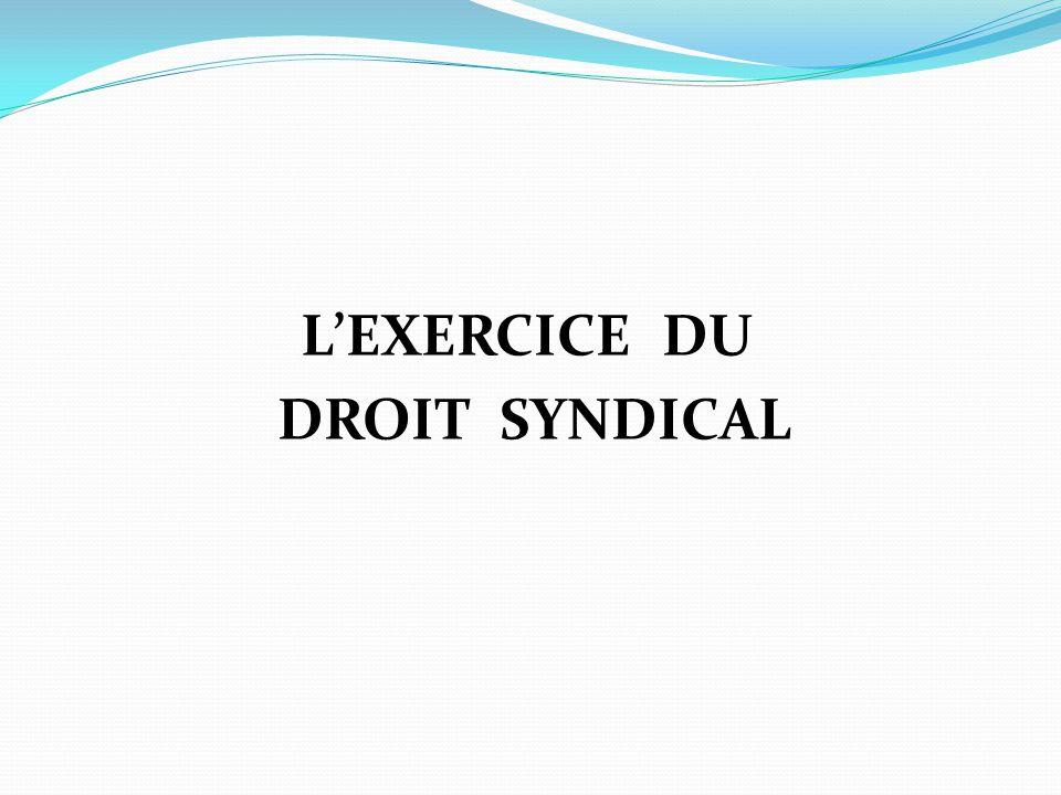 L'EXERCICE DU DROIT SYNDICAL