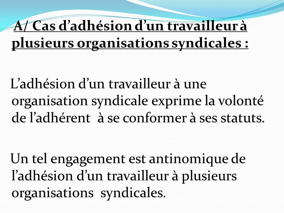 A/ Cas d'adhésion d'un travailleur à plusieurs organisations syndicales :