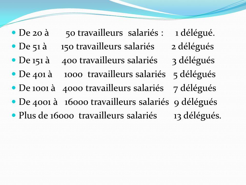 De 20 à 50 travailleurs salariés : 1 délégué.