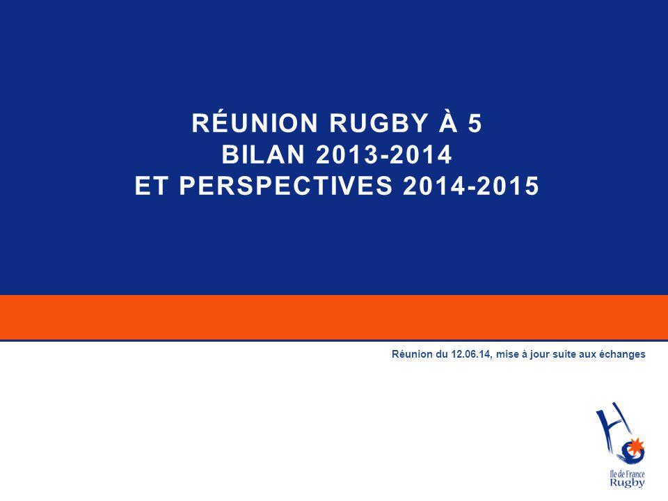 RÉUNION RUGBY À 5 Bilan 2013-2014 et perspectives 2014-2015