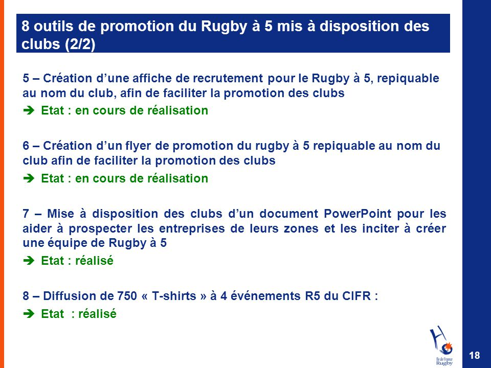 8 outils de promotion du Rugby à 5 mis à disposition des clubs (2/2)