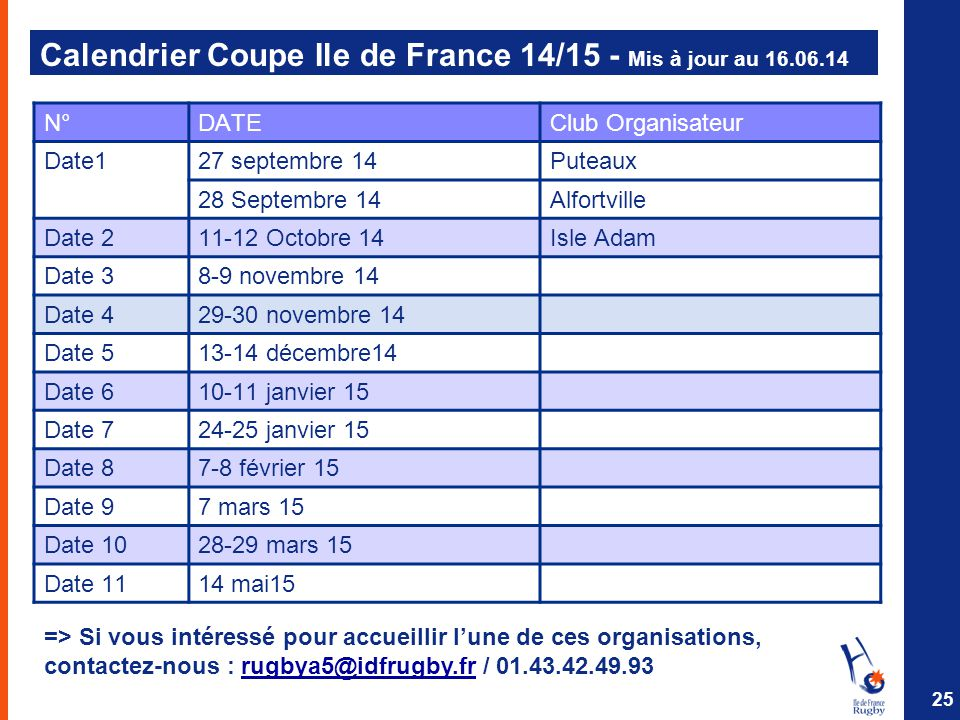 Calendrier Coupe Ile de France 14/15 - Mis à jour au 16.06.14