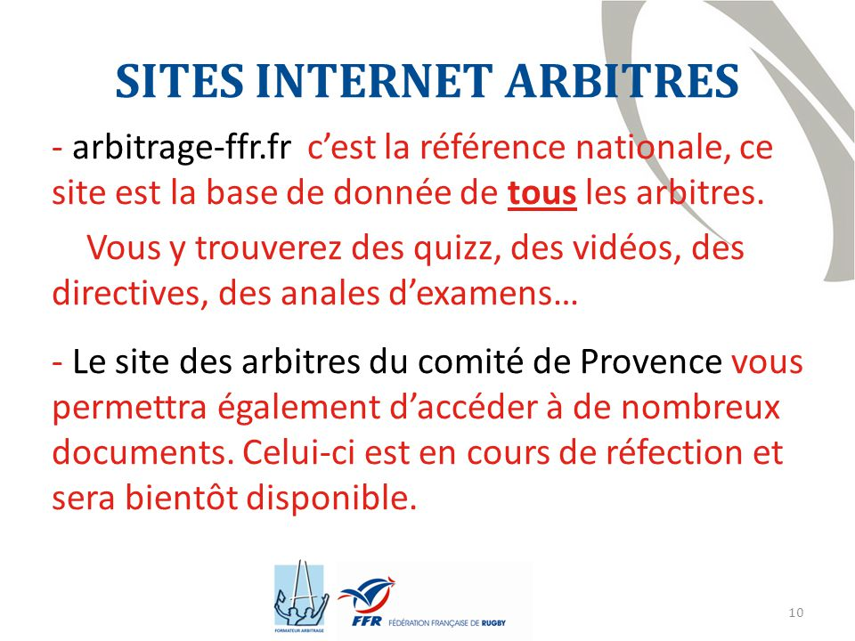SITES INTERNET ARBITRES