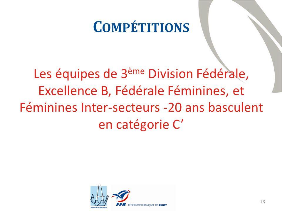 Compétitions Les équipes de 3ème Division Fédérale, Excellence B, Fédérale Féminines, et Féminines Inter-secteurs -20 ans basculent en catégorie C'