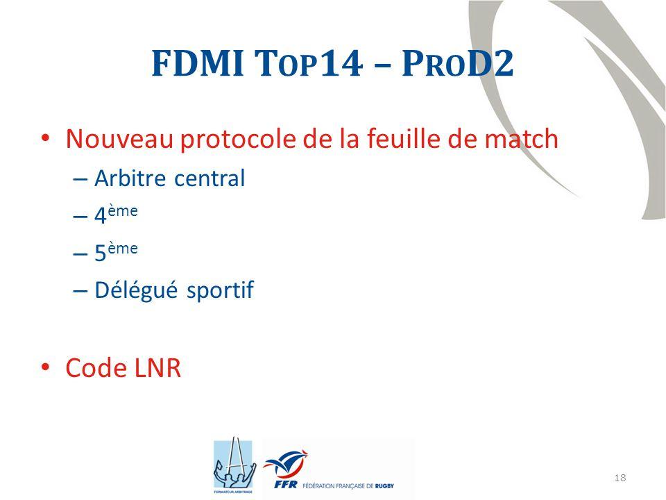 FDMI Top14 – ProD2 Nouveau protocole de la feuille de match Code LNR