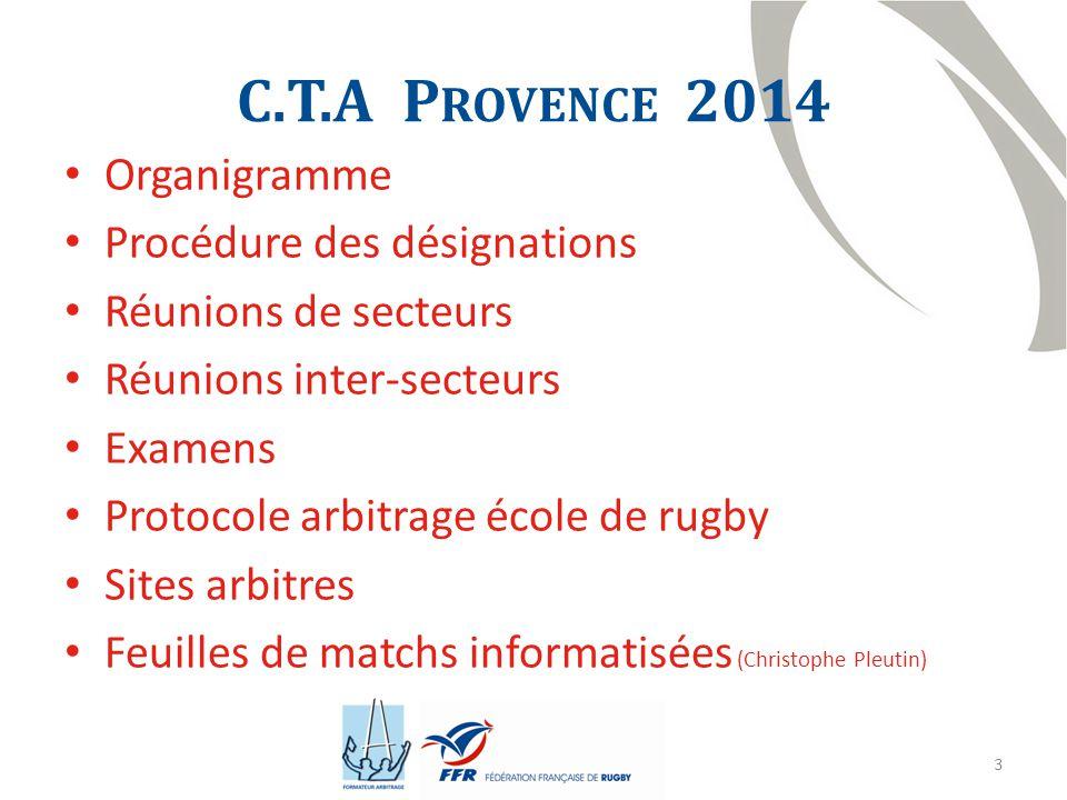 C.T.A Provence 2014 Organigramme Procédure des désignations
