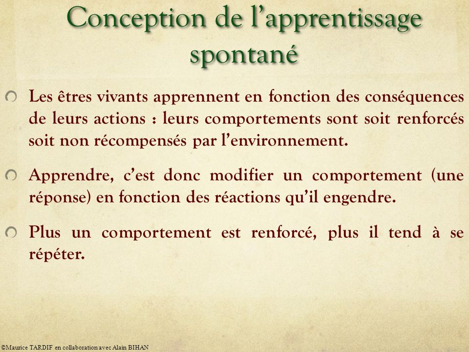 Conception de l'apprentissage spontané