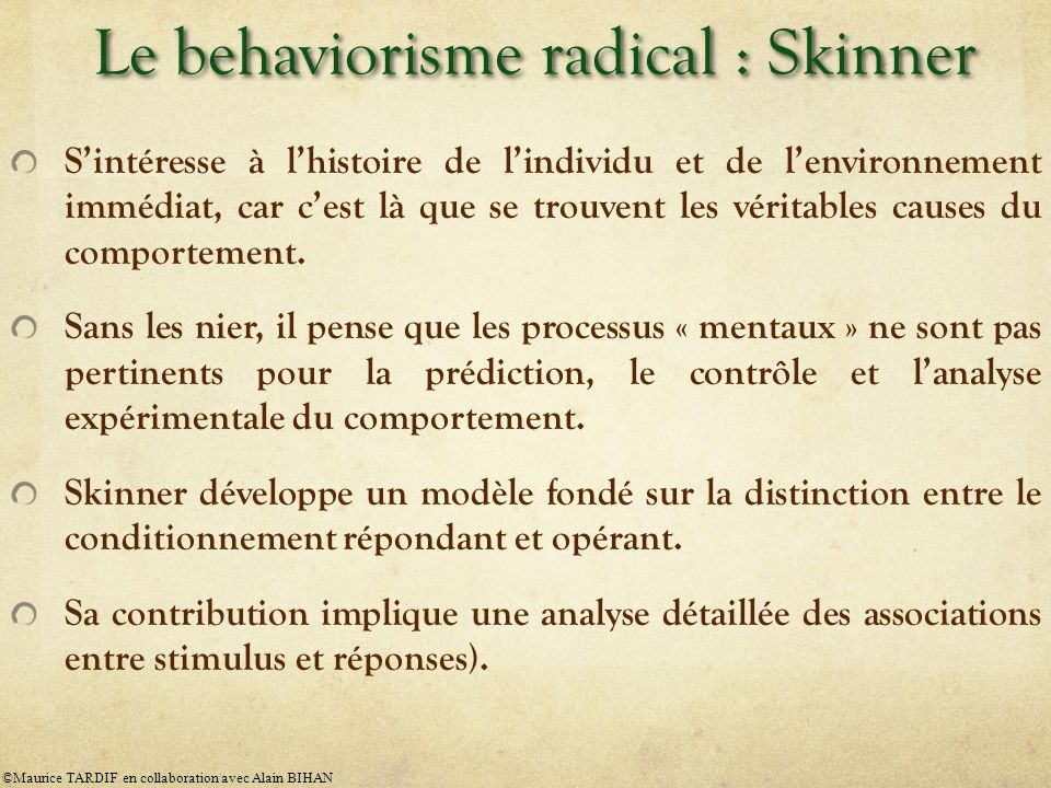 Le behaviorisme radical : Skinner