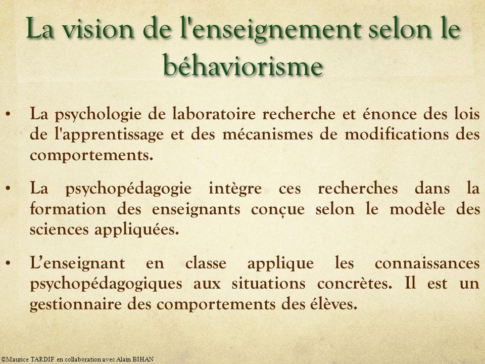 La vision de l enseignement selon le béhaviorisme
