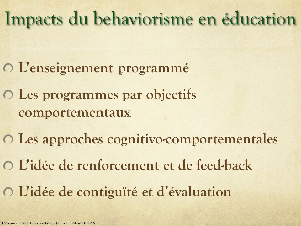 Impacts du behaviorisme en éducation