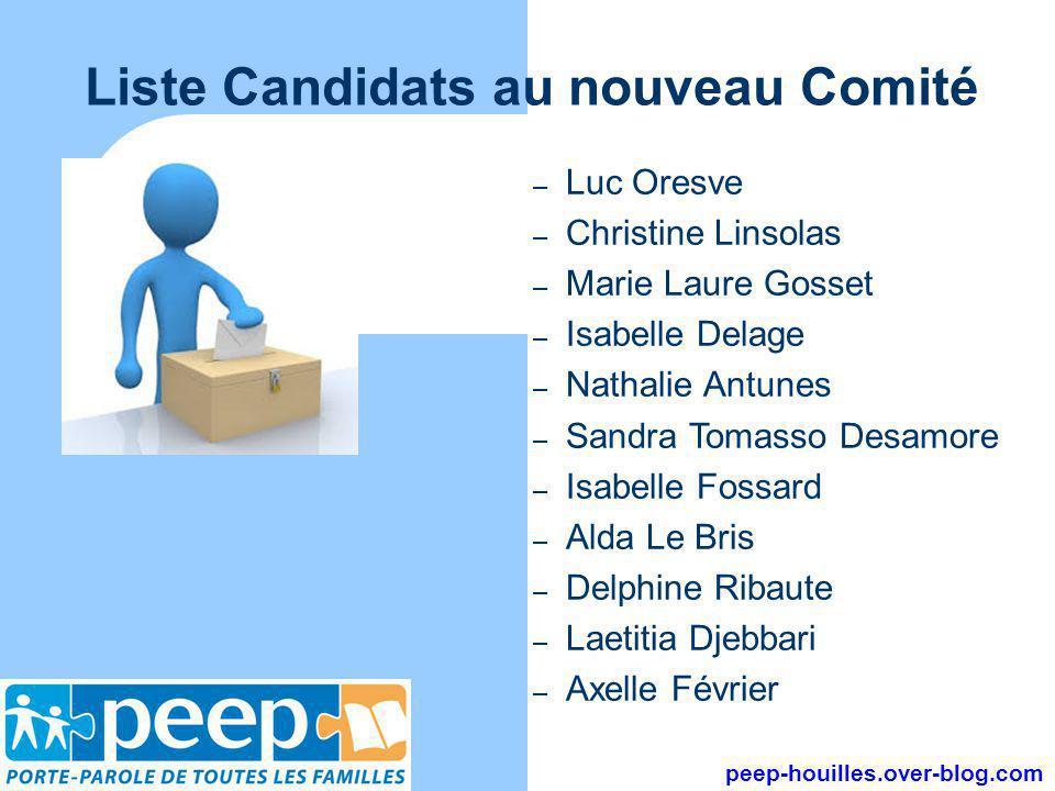 Liste Candidats au nouveau Comité