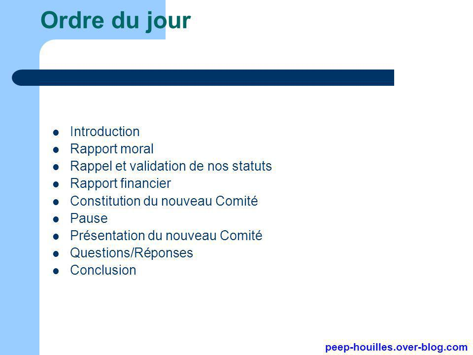 Ordre du jour Introduction Rapport moral