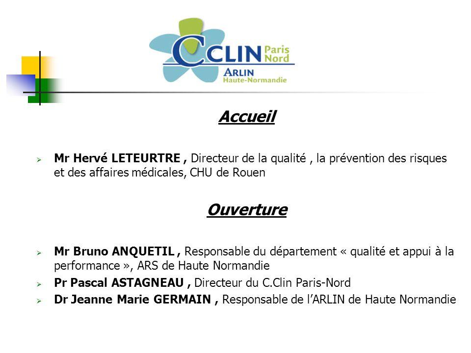 Accueil Mr Hervé LETEURTRE , Directeur de la qualité , la prévention des risques et des affaires médicales, CHU de Rouen.