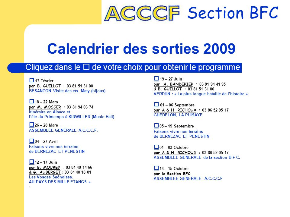 Calendrier des sorties 2009
