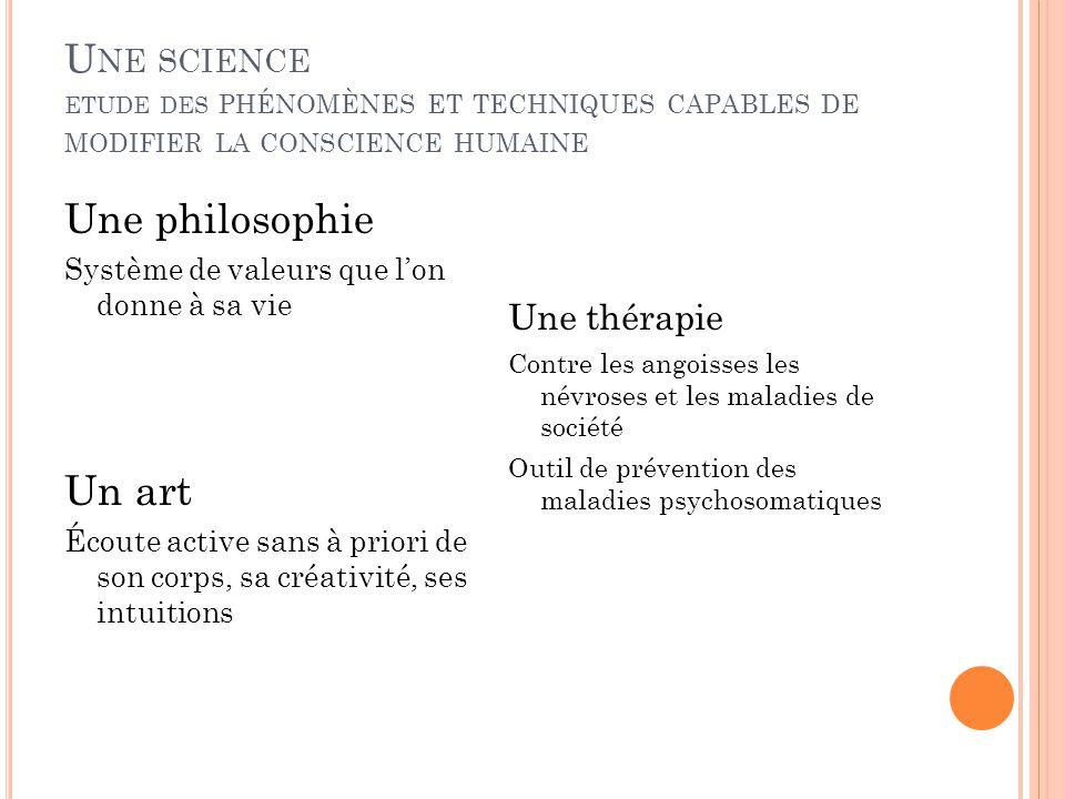 Une science etude des phénomènes et techniques capables de modifier la conscience humaine