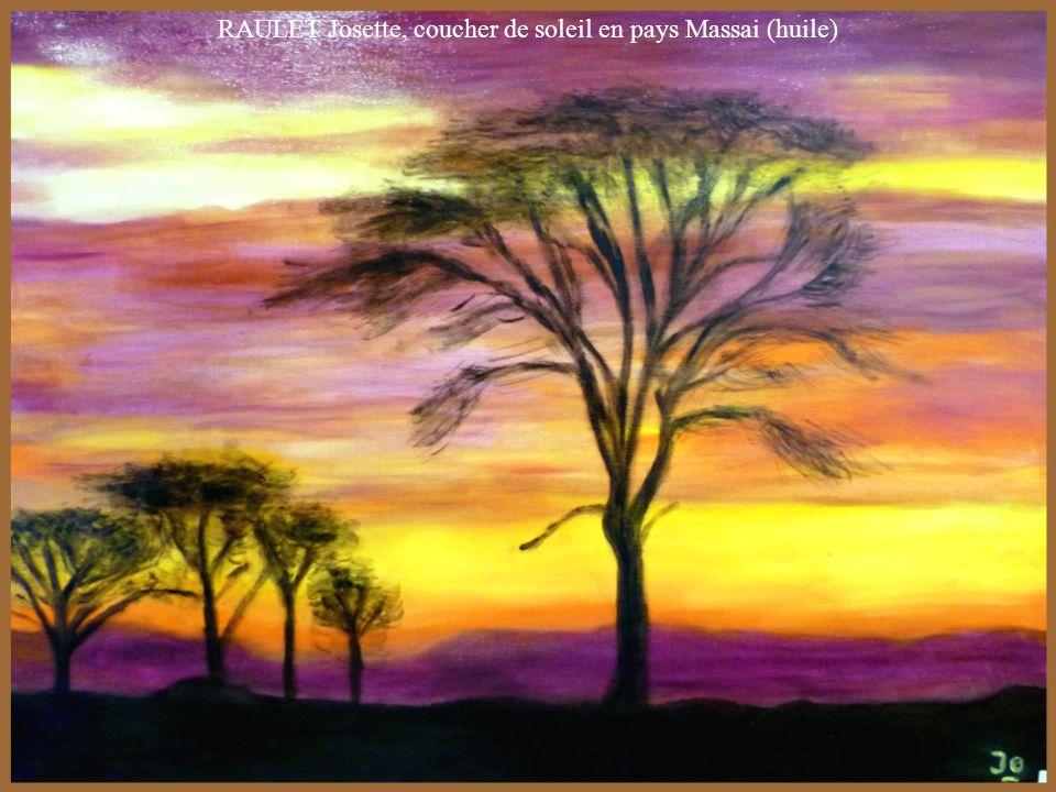 RAULET Josette, coucher de soleil en pays Massai (huile)