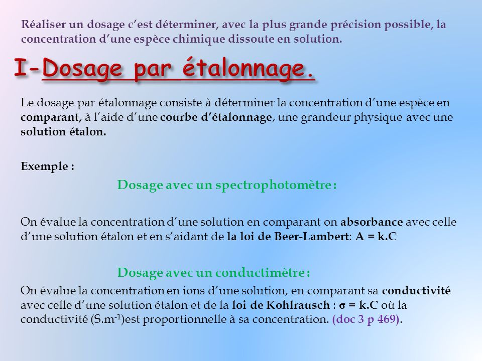 I-Dosage par étalonnage.
