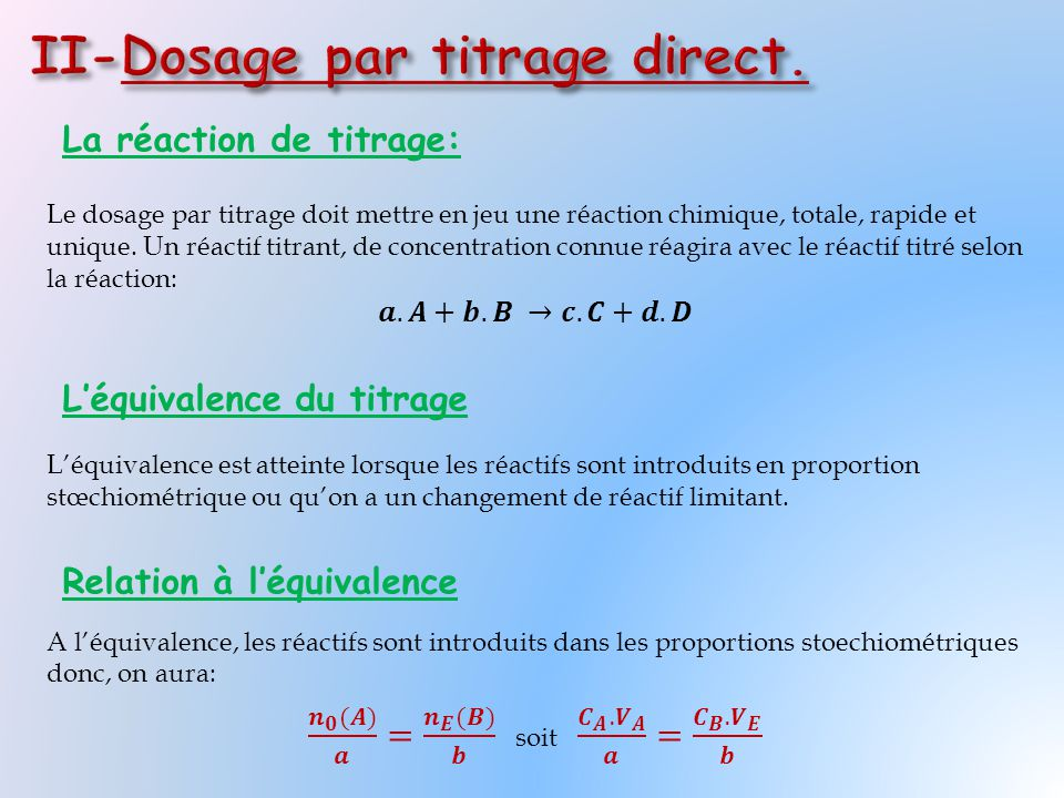 II-Dosage par titrage direct.