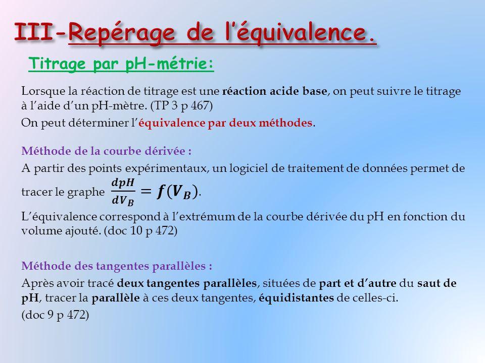 III-Repérage de l'équivalence.