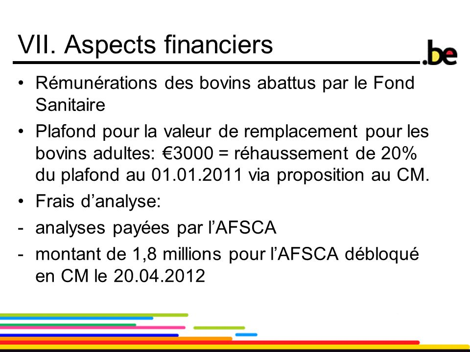 VII. Aspects financiers