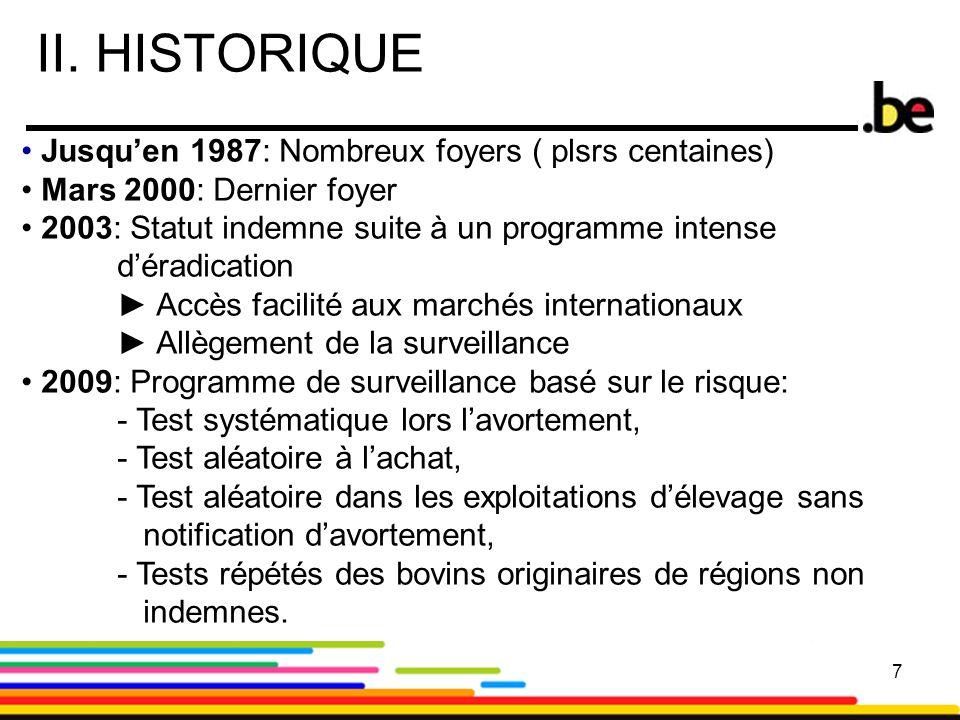 II. HISTORIQUE Jusqu'en 1987: Nombreux foyers ( plsrs centaines)