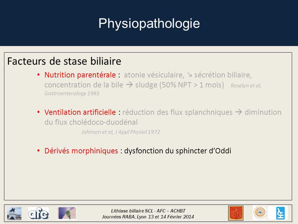 Physiopathologie Facteurs de stase biliaire