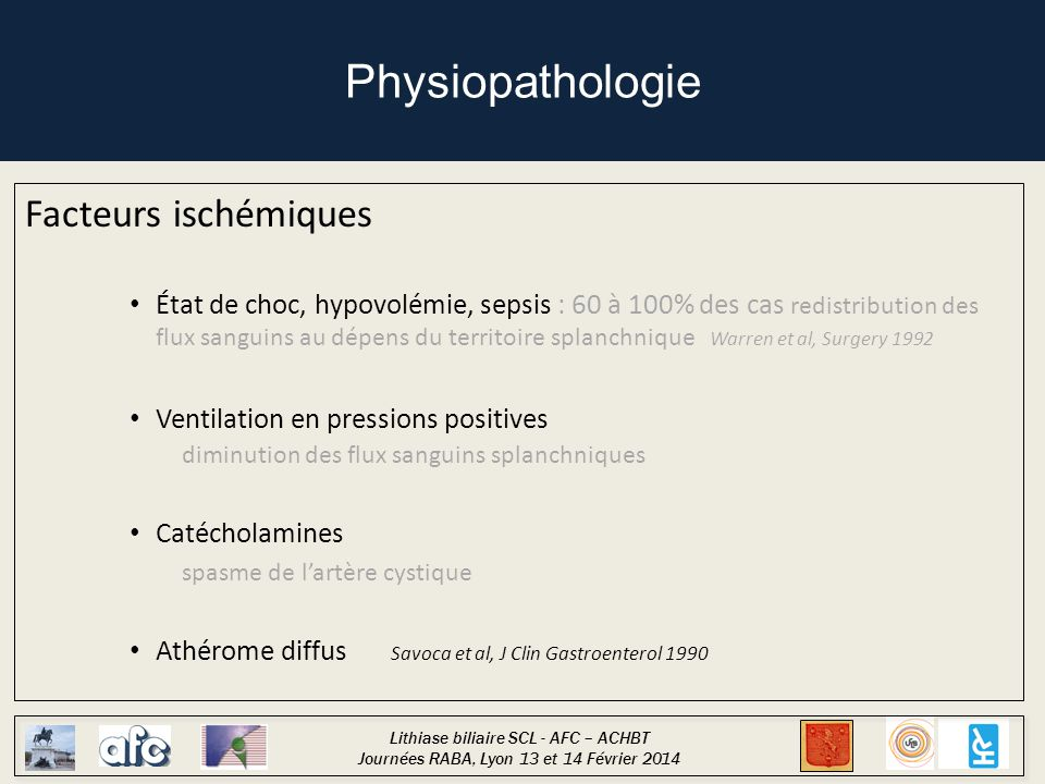 Physiopathologie Facteurs ischémiques