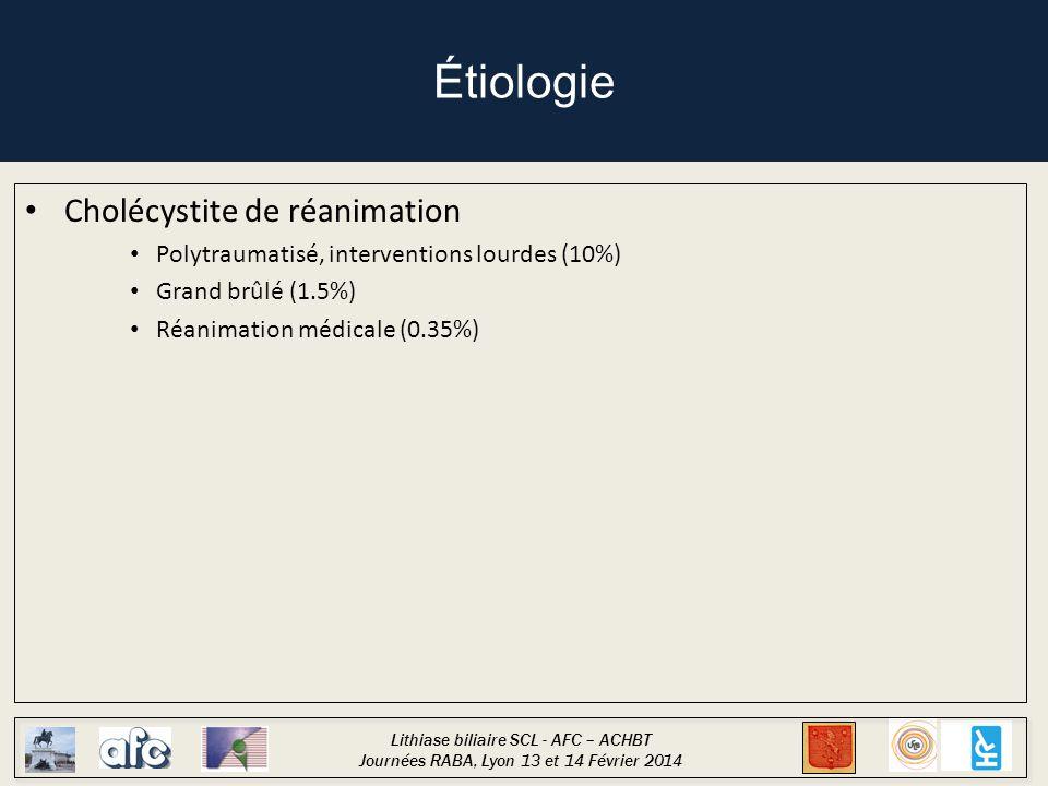 Étiologie Cholécystite de réanimation