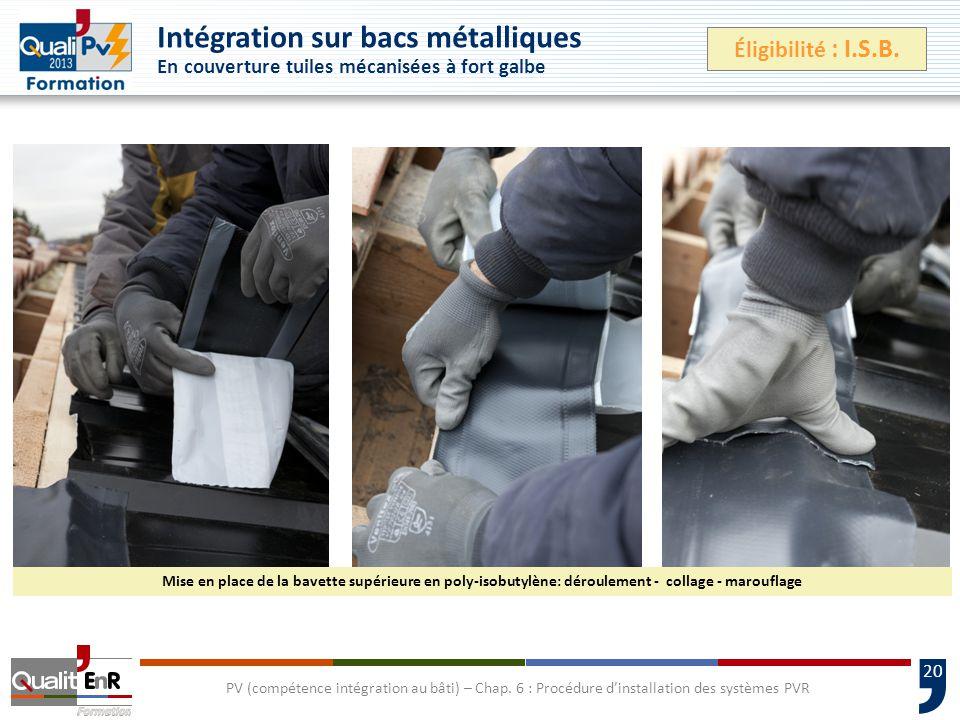 Intégration sur bacs métalliques En couverture tuiles mécanisées à fort galbe