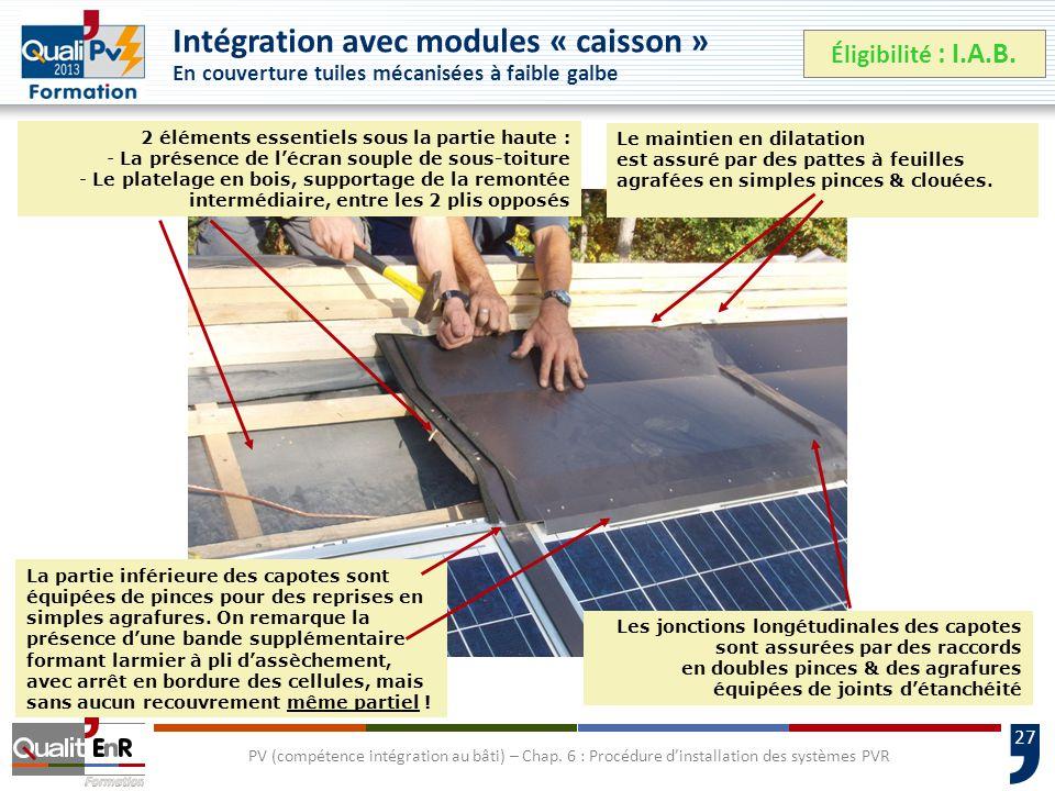 Intégration avec modules « caisson » En couverture tuiles mécanisées à faible galbe