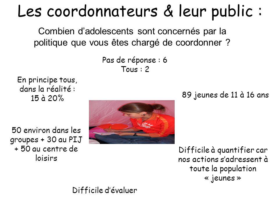 Les coordonnateurs & leur public :