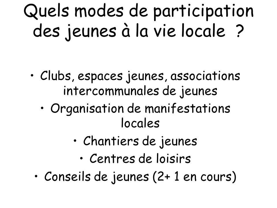 Quels modes de participation des jeunes à la vie locale