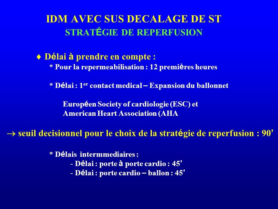 IDM AVEC SUS DECALAGE DE ST STRATÉGIE DE REPERFUSION