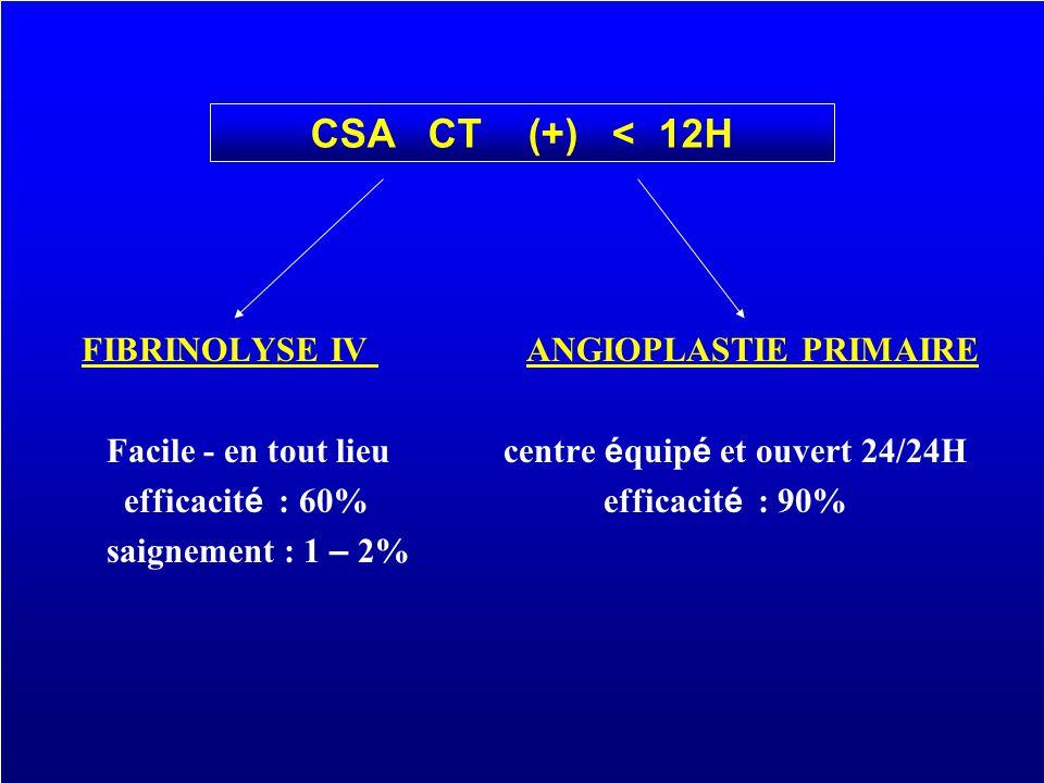 FIBRINOLYSE IV ANGIOPLASTIE PRIMAIRE CSA CT (+) < 12H