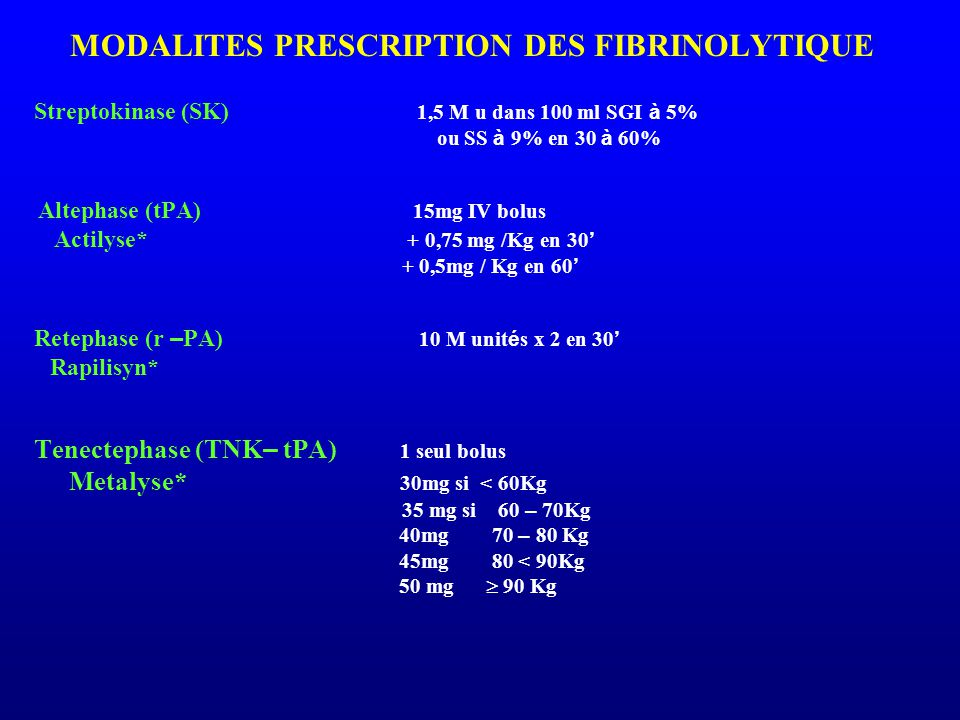 ou SS à 9% en 30 à 60% Metalyse* 30mg si < 60Kg 40mg 70 – 80 Kg